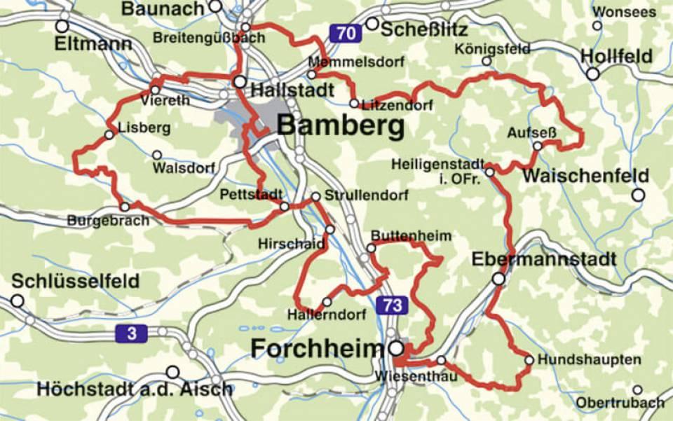 Karte Bamberg.Brauereien Und Bierkeller Radtour Oberfranken