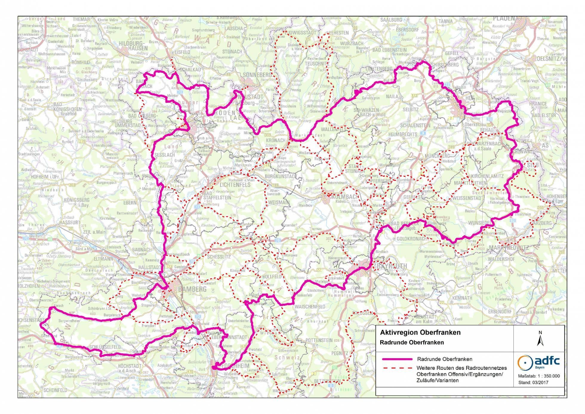 Oberfranken Karte.Radrunde Oberfranken Oberfranken